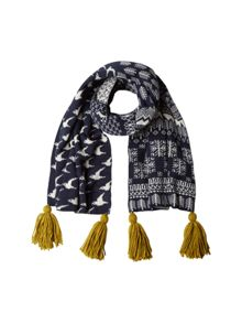White Stuff Bird Jacquard Scarf