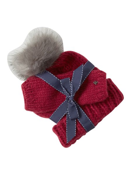 White Stuff Annabel Plain Hat & Glove Set