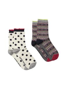 White Stuff Heart Fairisle 2 Pack