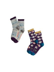 White Stuff Ewe Love Fairisle 2 Pack Sock