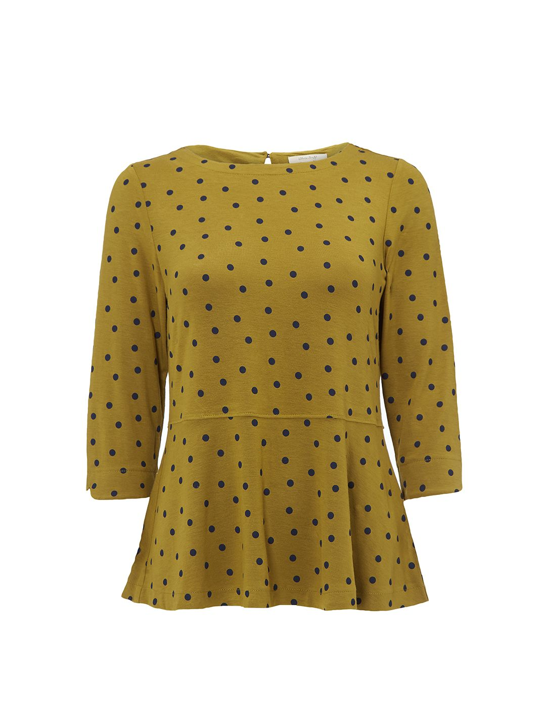 White Stuff Spotty Polly Jersey Tee, Green