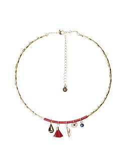 Leaf And Bead Charm Necklace