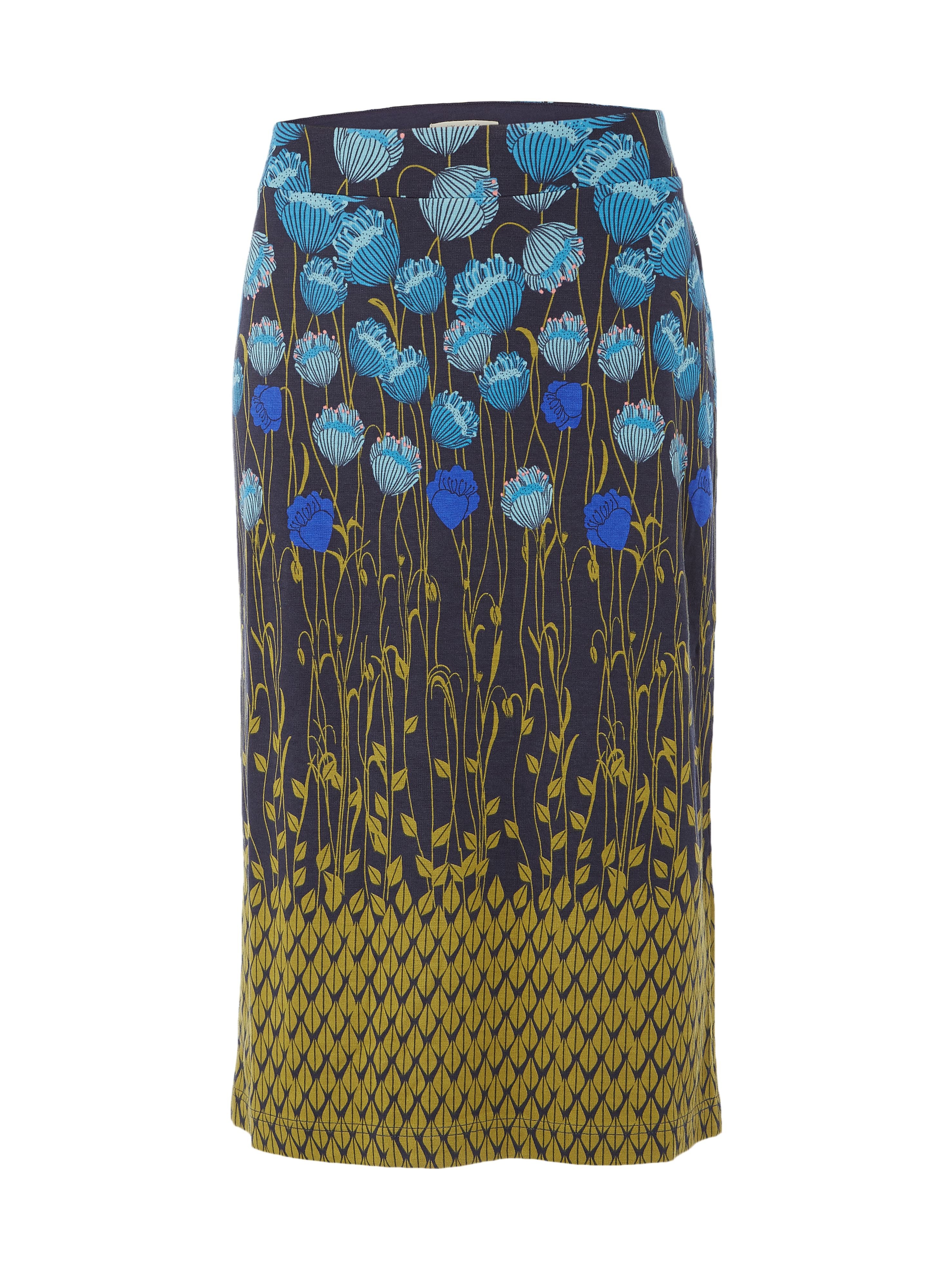 White Stuff Flora Print Jersey Midi Skirt, Blue