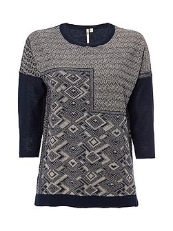 Ink Pen Jaquard Knit Top