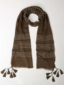 White Stuff Embroidered Stripe Scarf