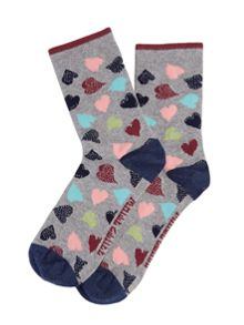 White Stuff Scattered Sparkle Hearts Sock