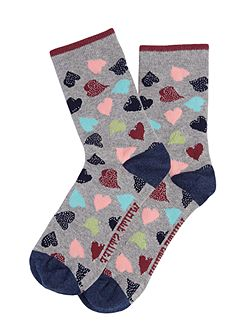 Scattered Sparkle Hearts Sock