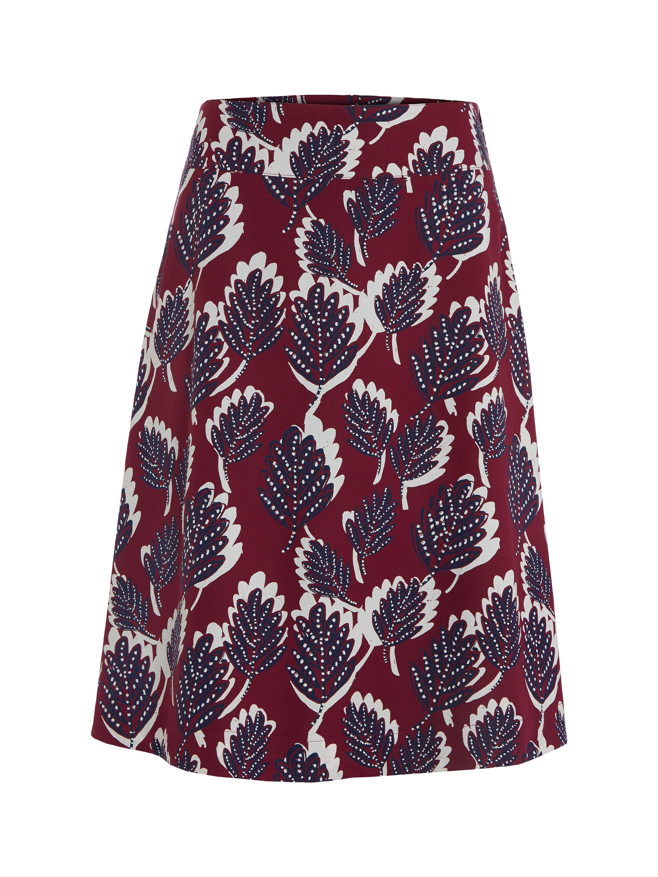 White Stuff Dotty Leaf Reversible Skirt, Red