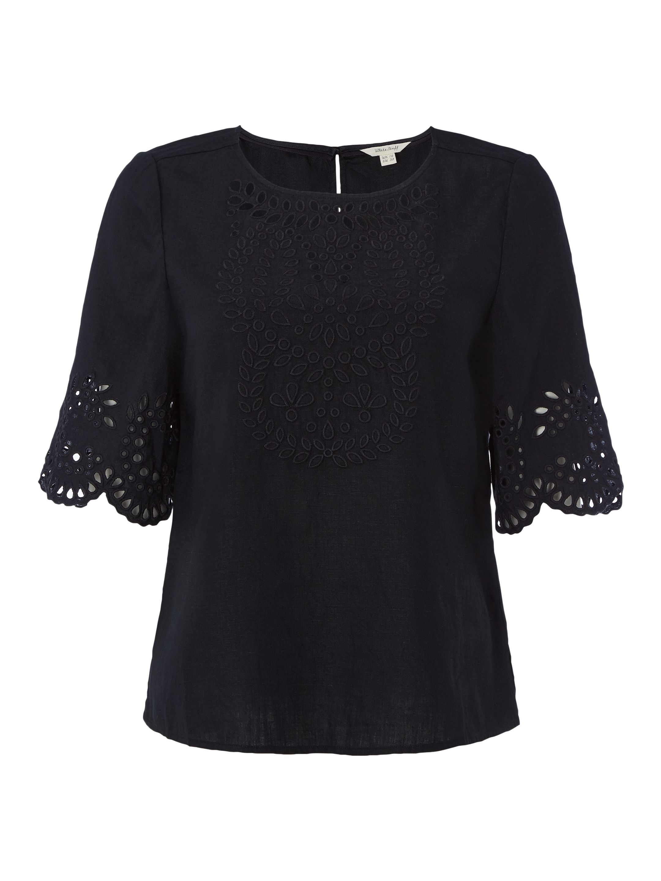White Stuff Cutwork Karala Top, Black