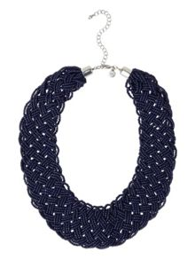 White Stuff Plaited Seed Bead Necklace