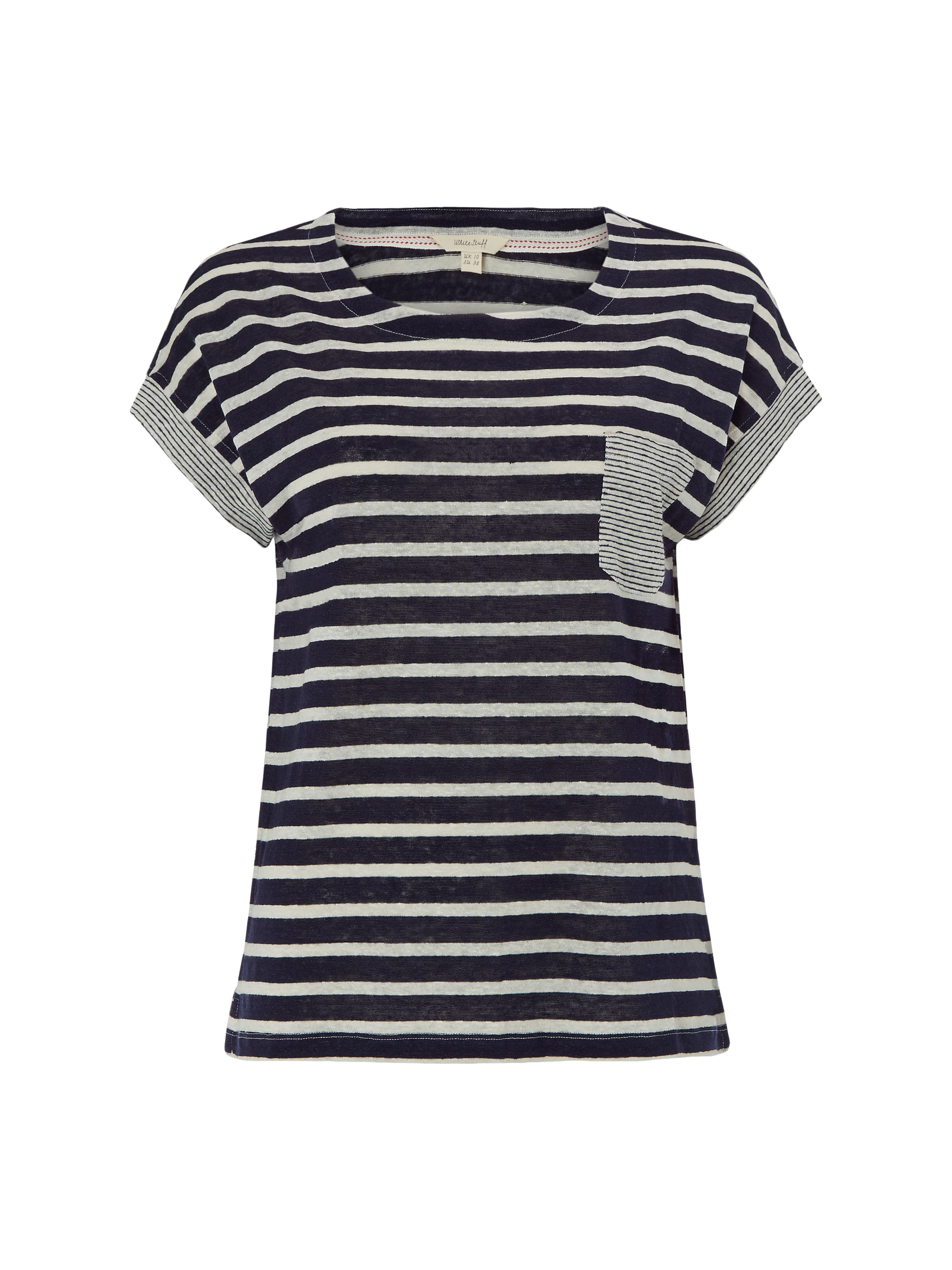 White Stuff Tilly Ticking Jersey Tee, Blue