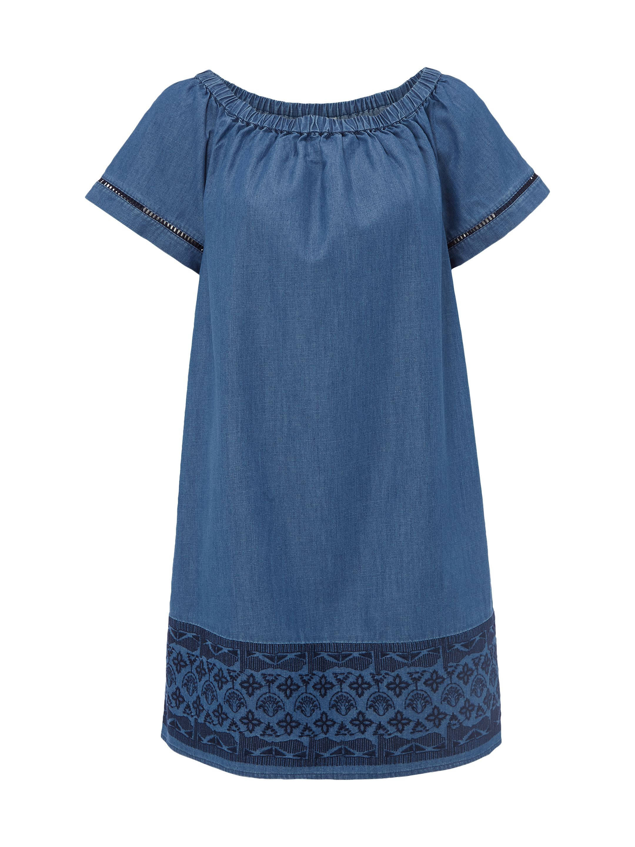 White Stuff Aspen Bardot Dress, Denim