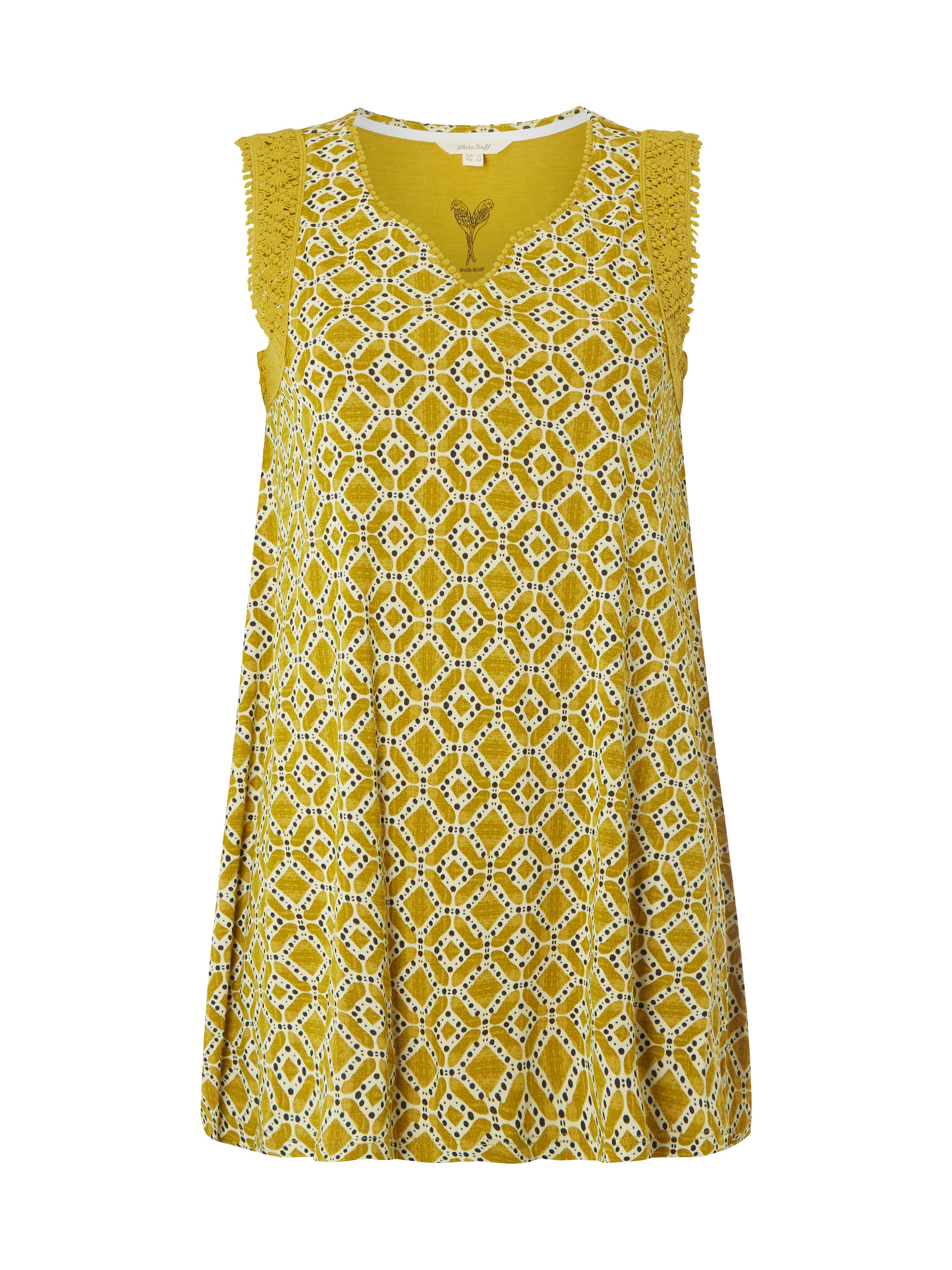 White Stuff Tile Print Jersey Tunic, Yellow