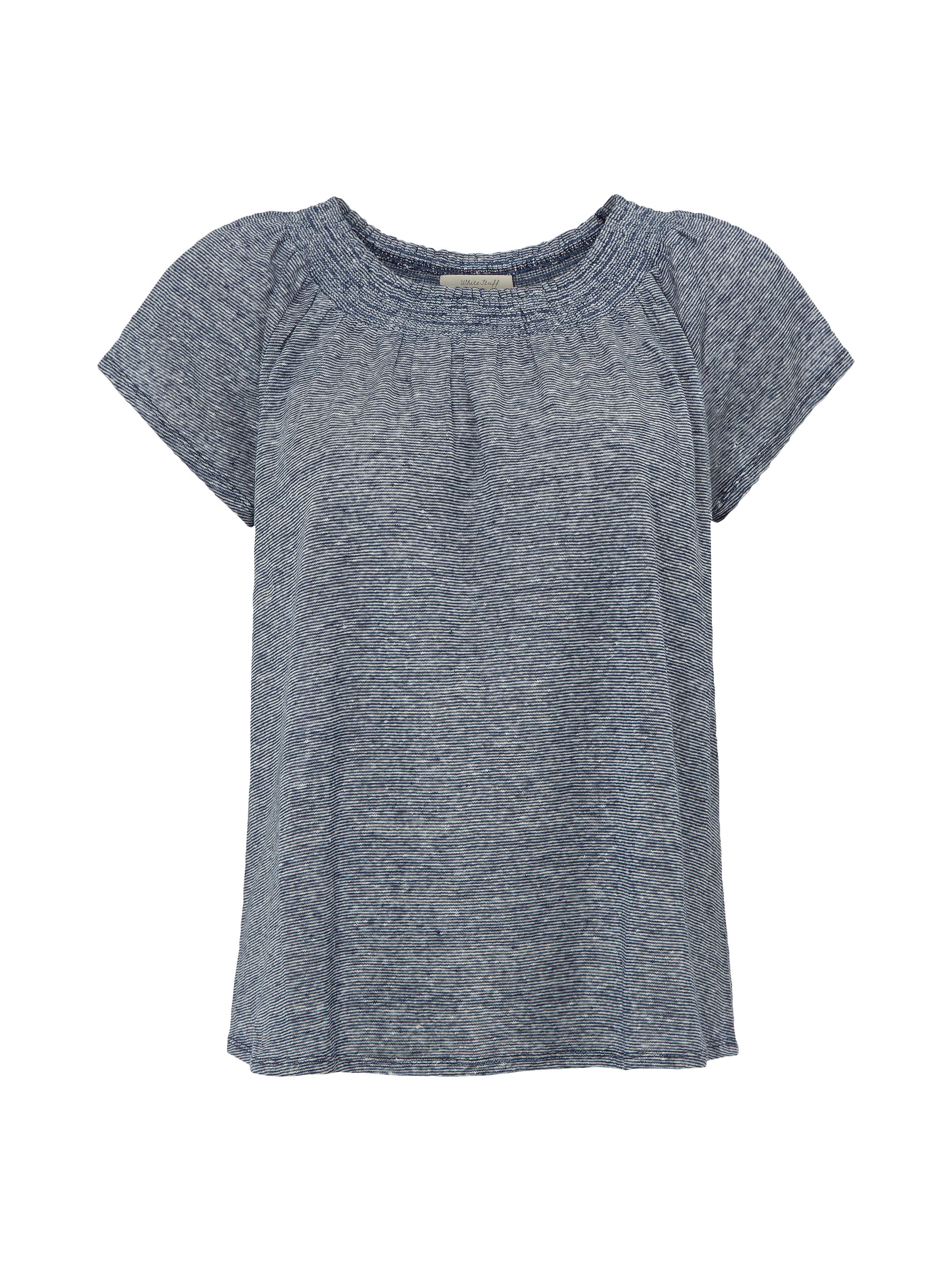 White Stuff Jemma Shirring Jersey Tee, Blue