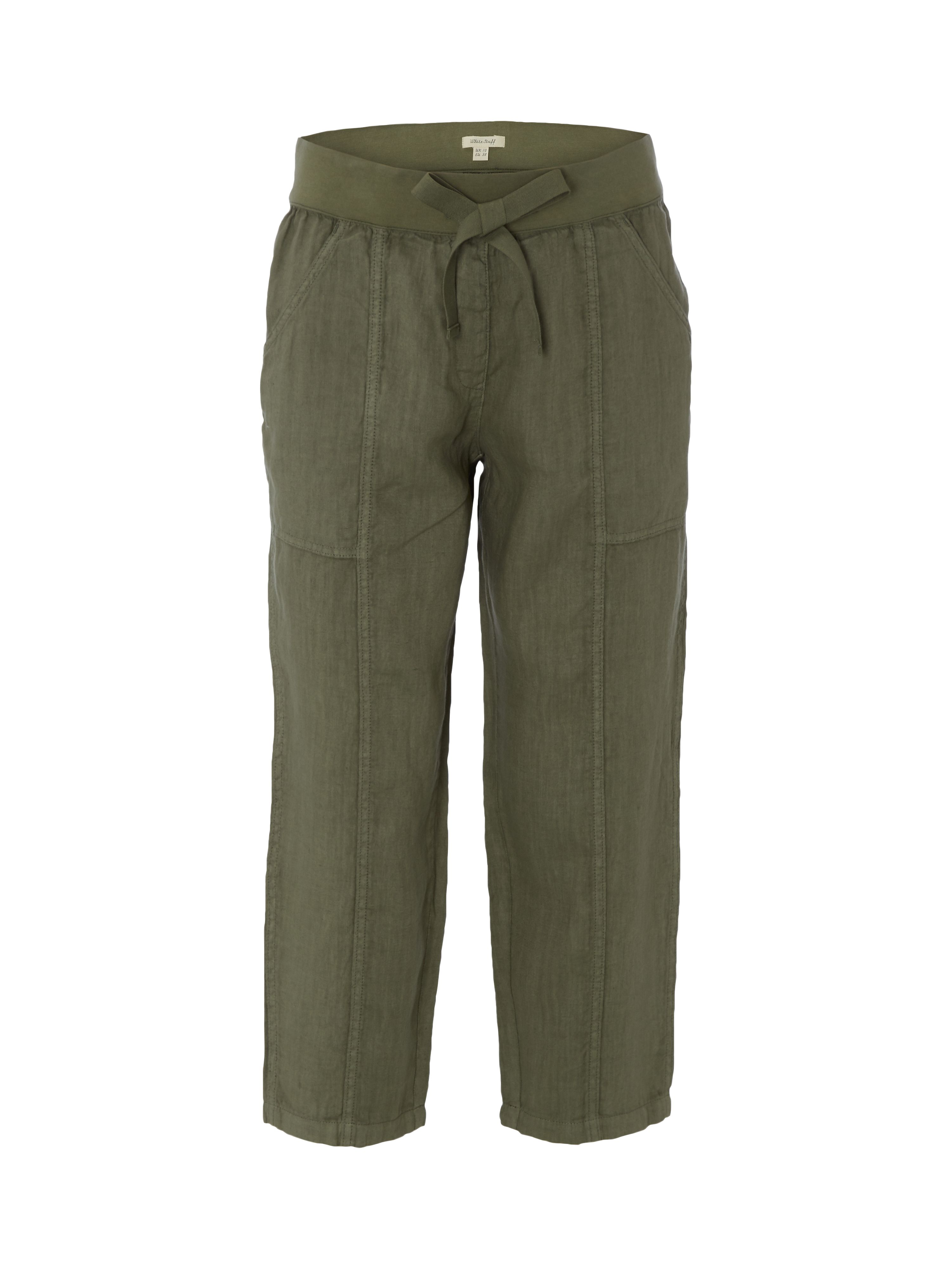 White Stuff Faria Linen Crop Trouser, Khaki