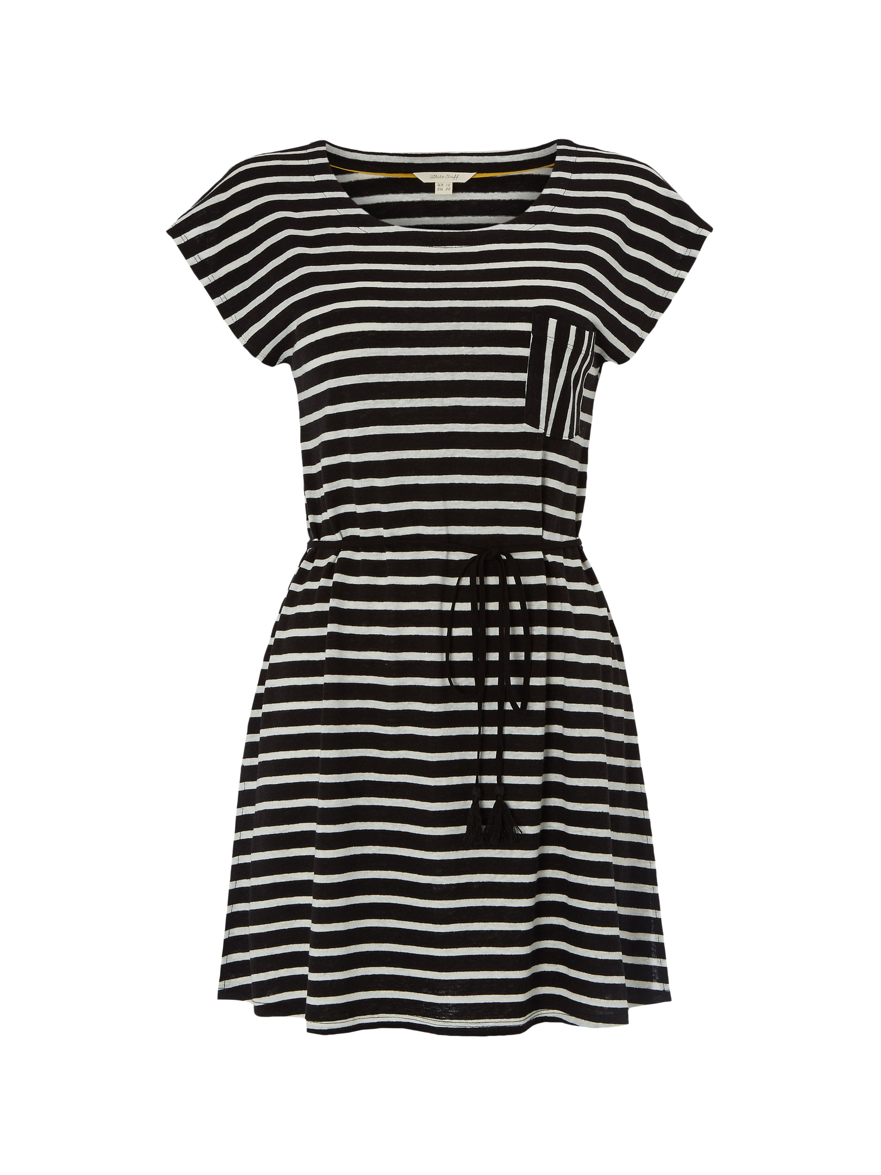 White Stuff Monochrome Stripe Jersey Tunic, Black
