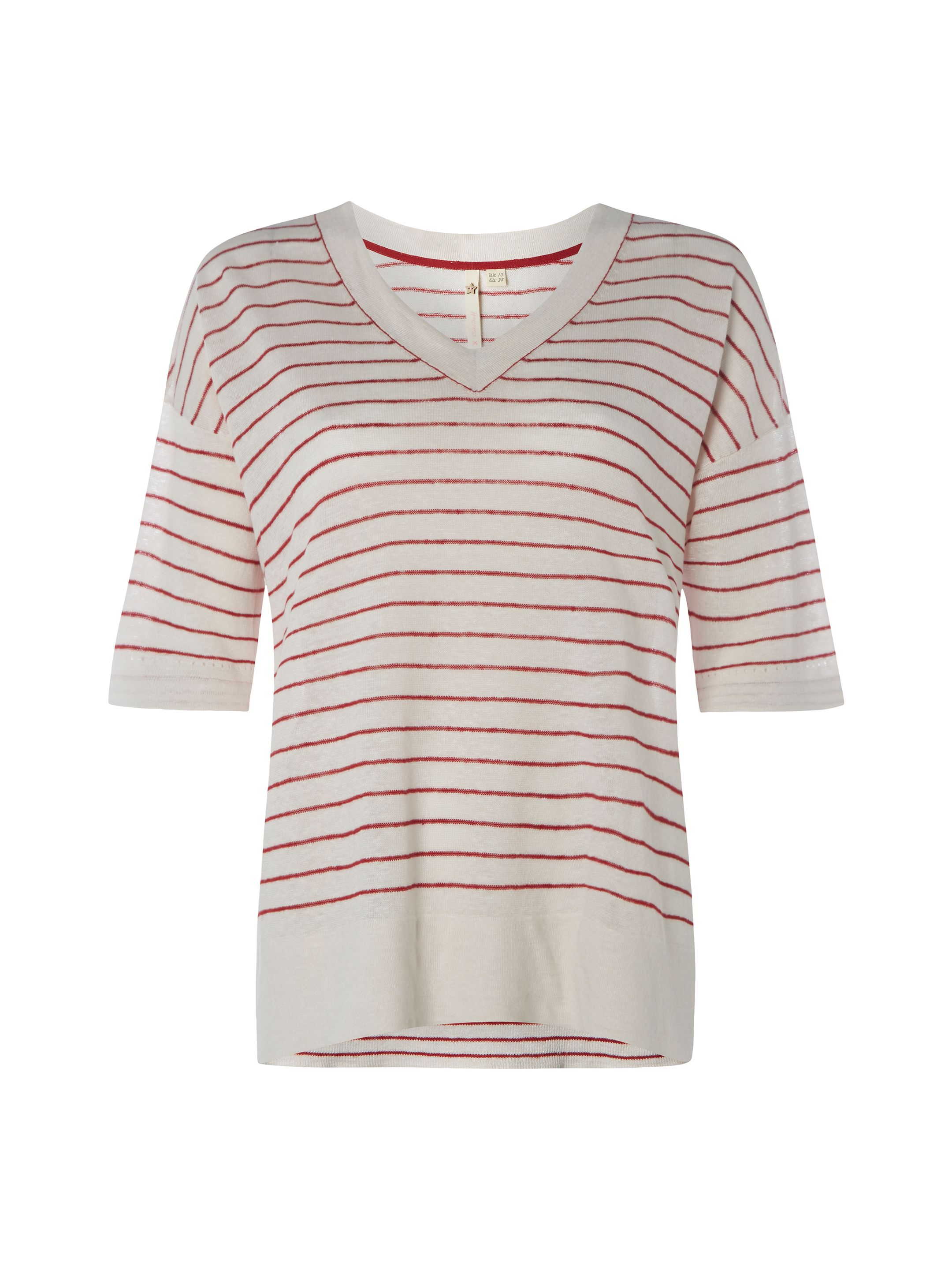 White Stuff Island Linen V Neck Top, Red