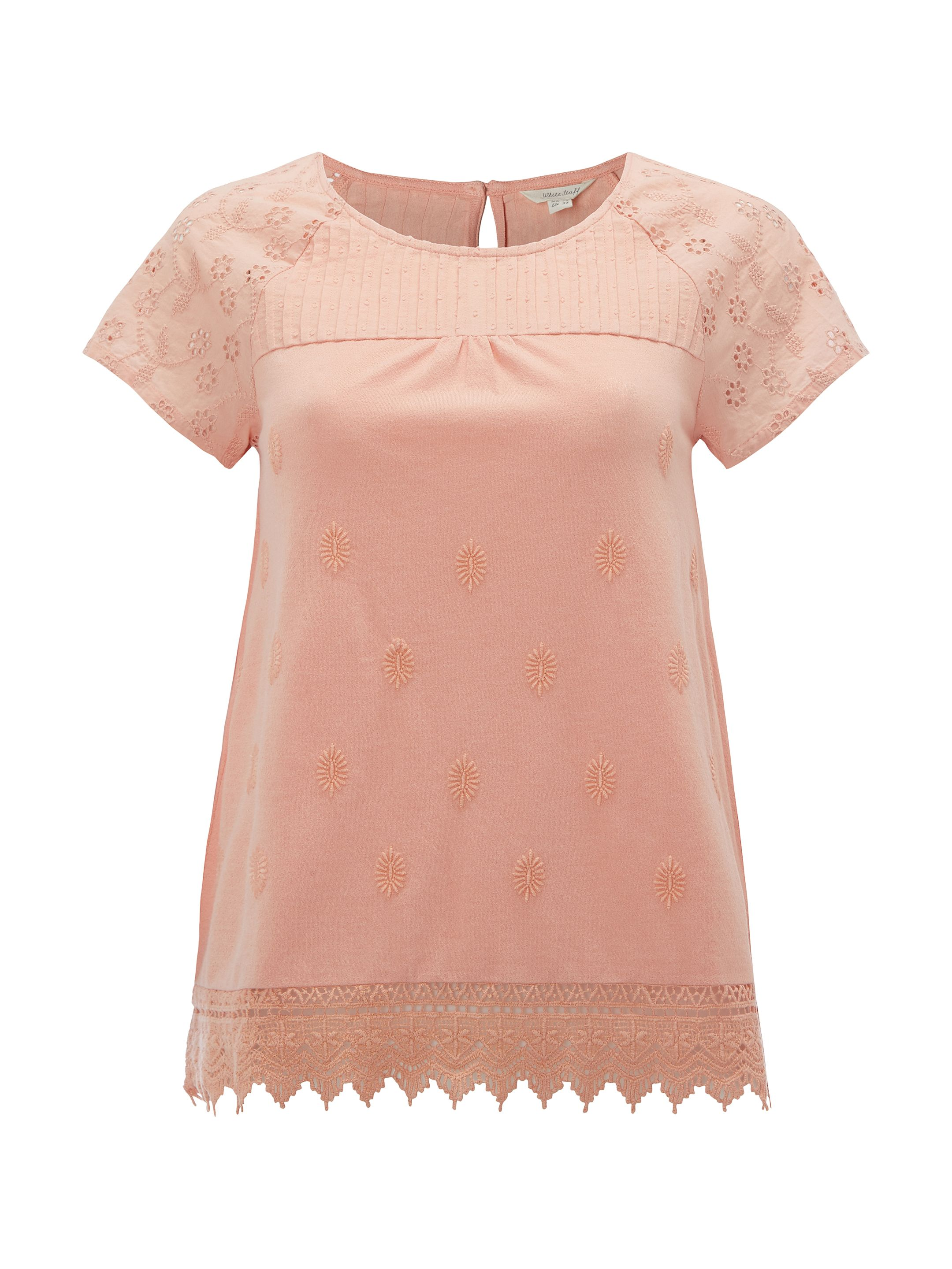 White Stuff Isla Lace Jersey Tee, Orange