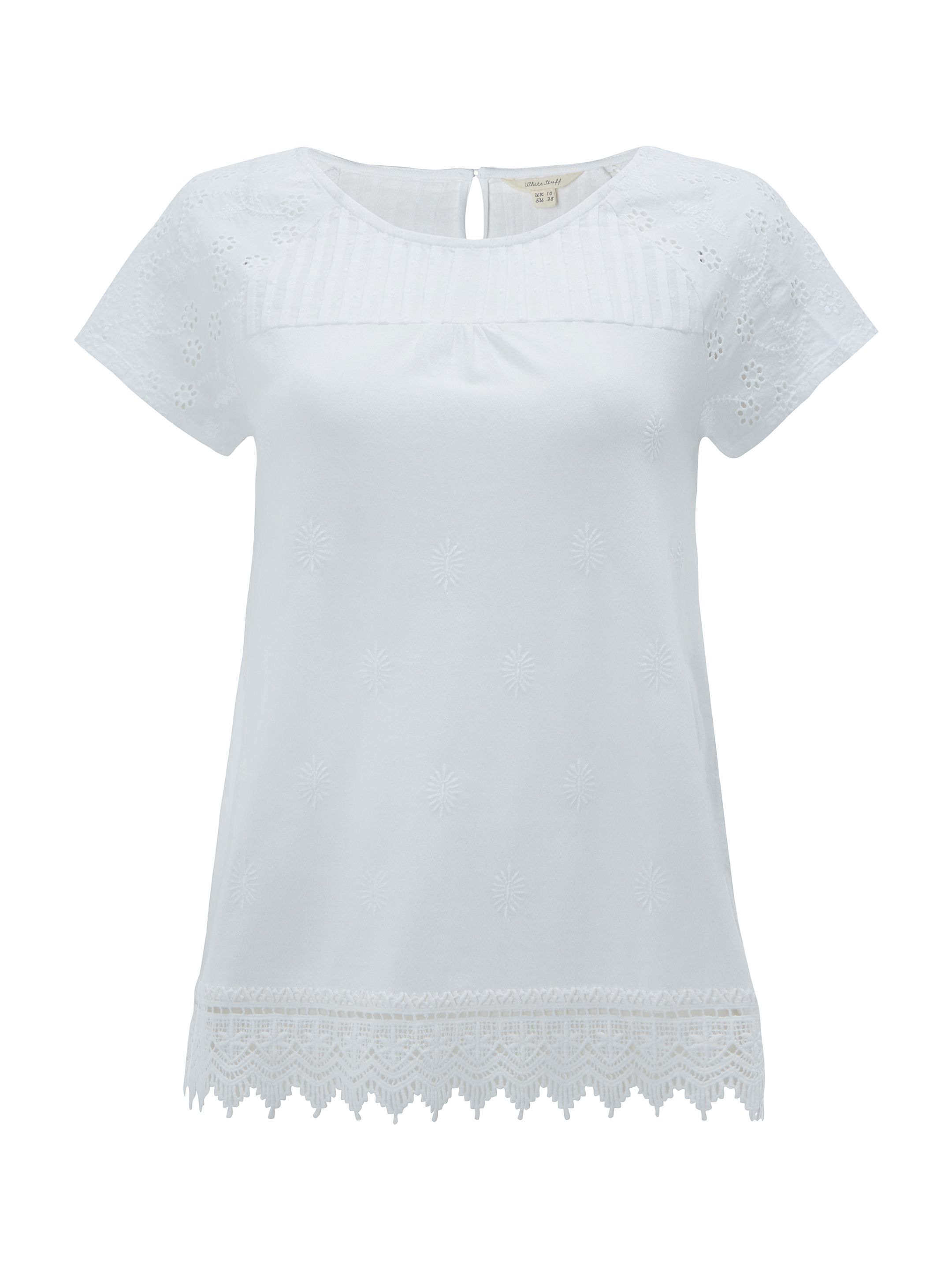 White Stuff Isla Lace Jersey Tee, White