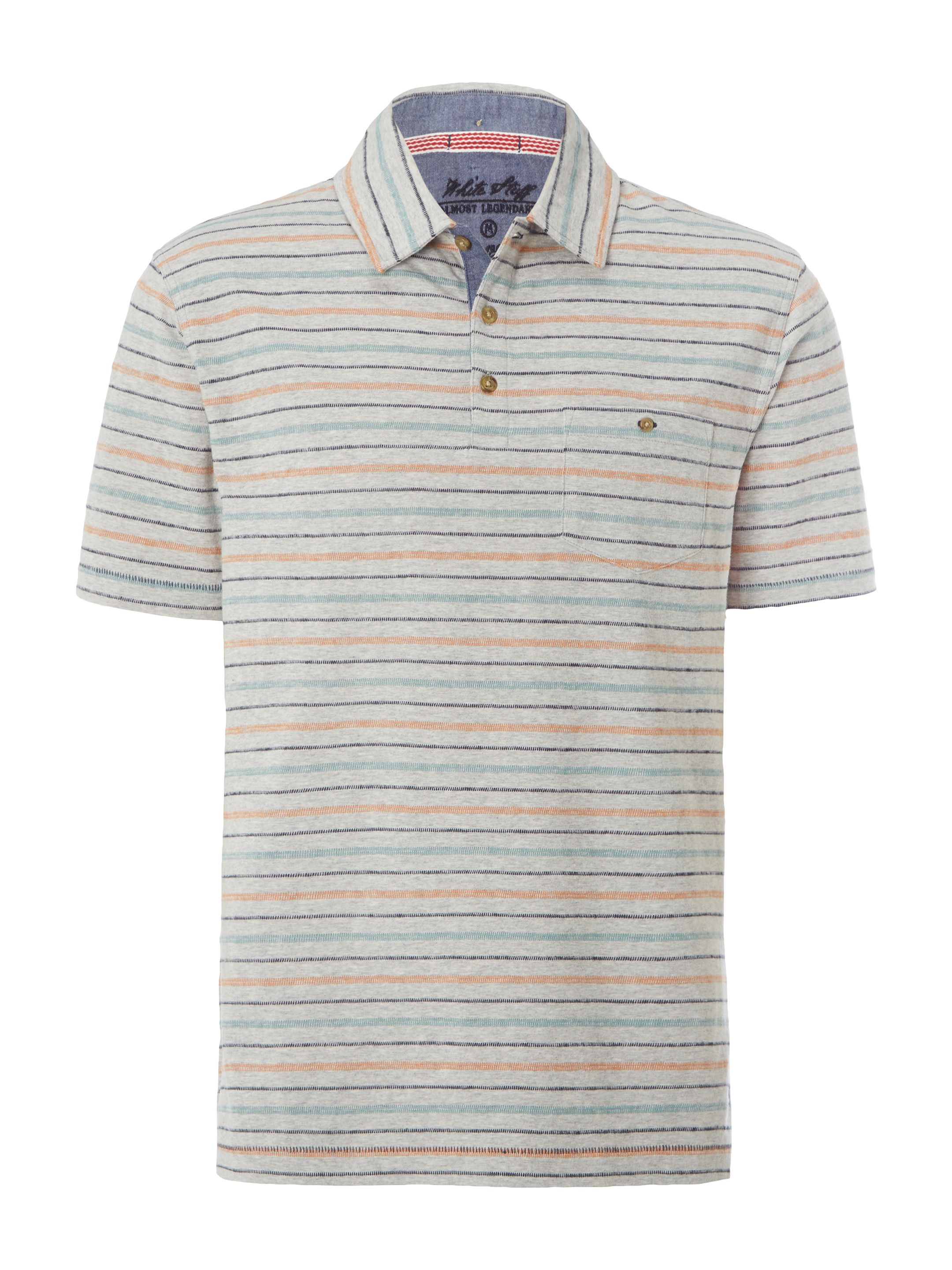Men's White Stuff Dashed Multi Stripe Polo, Grey
