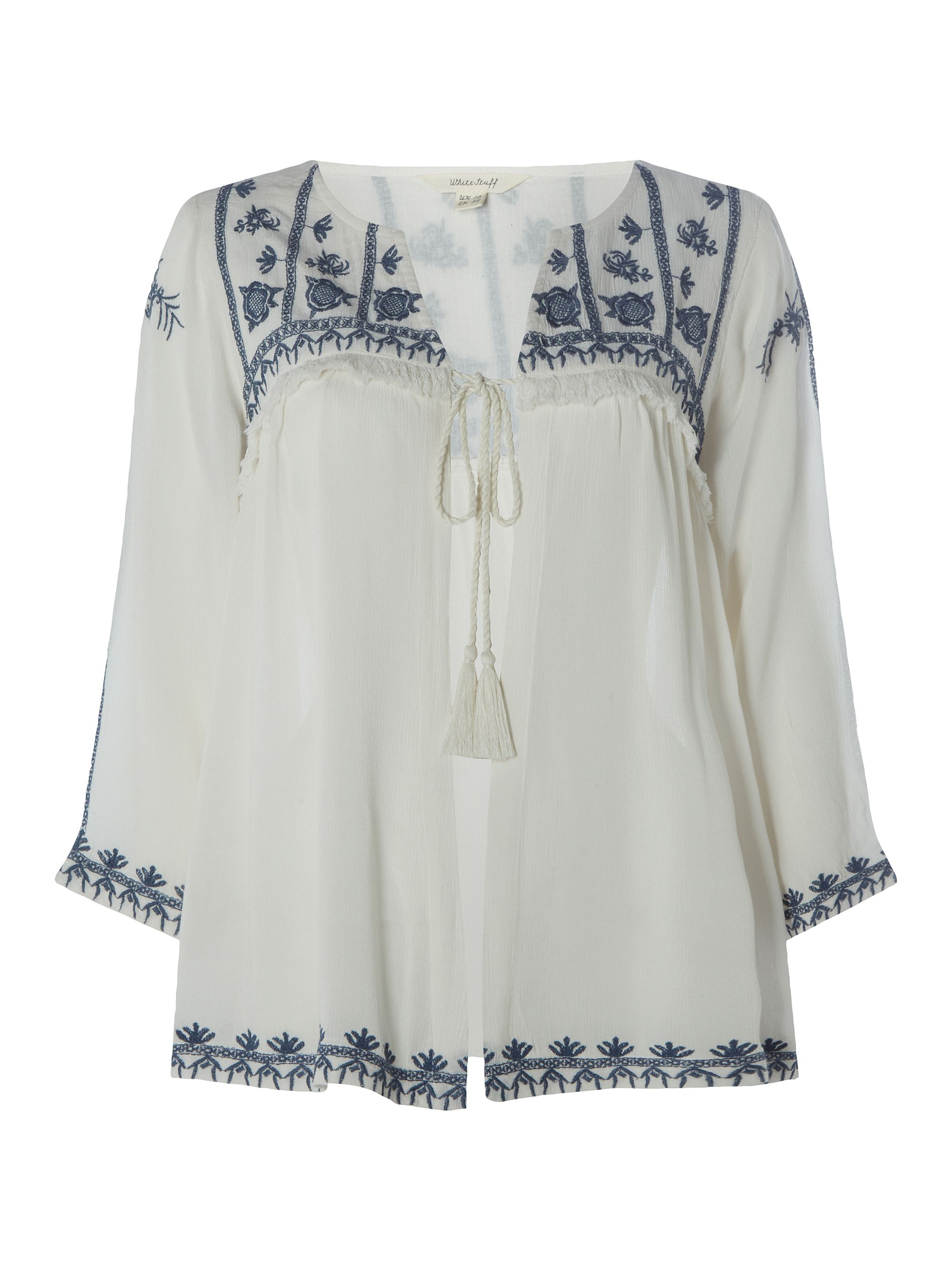 White Stuff Rose Tassle Emb Jacket, White