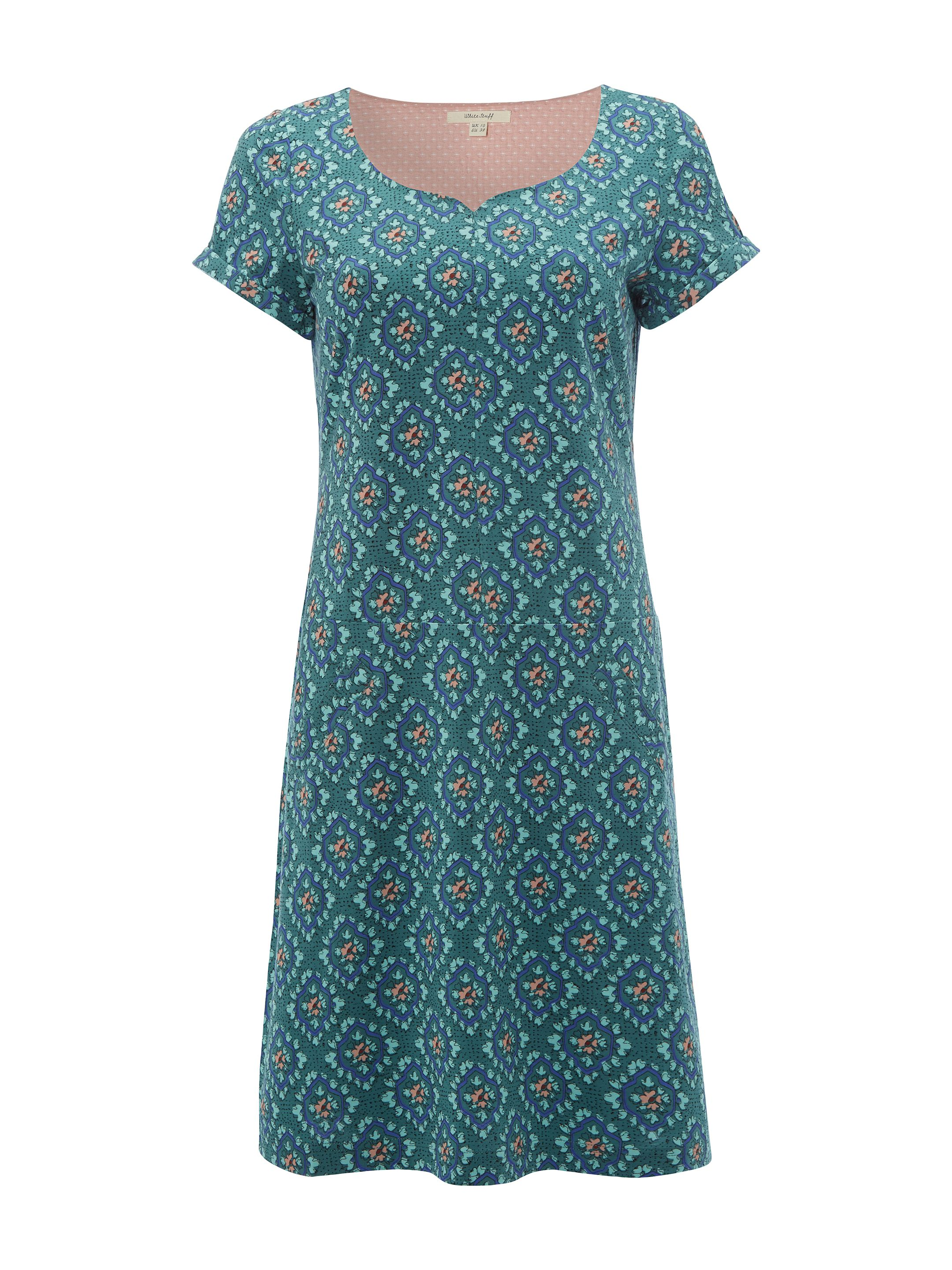 White Stuff Perfect Tile Jersey Dress, Green