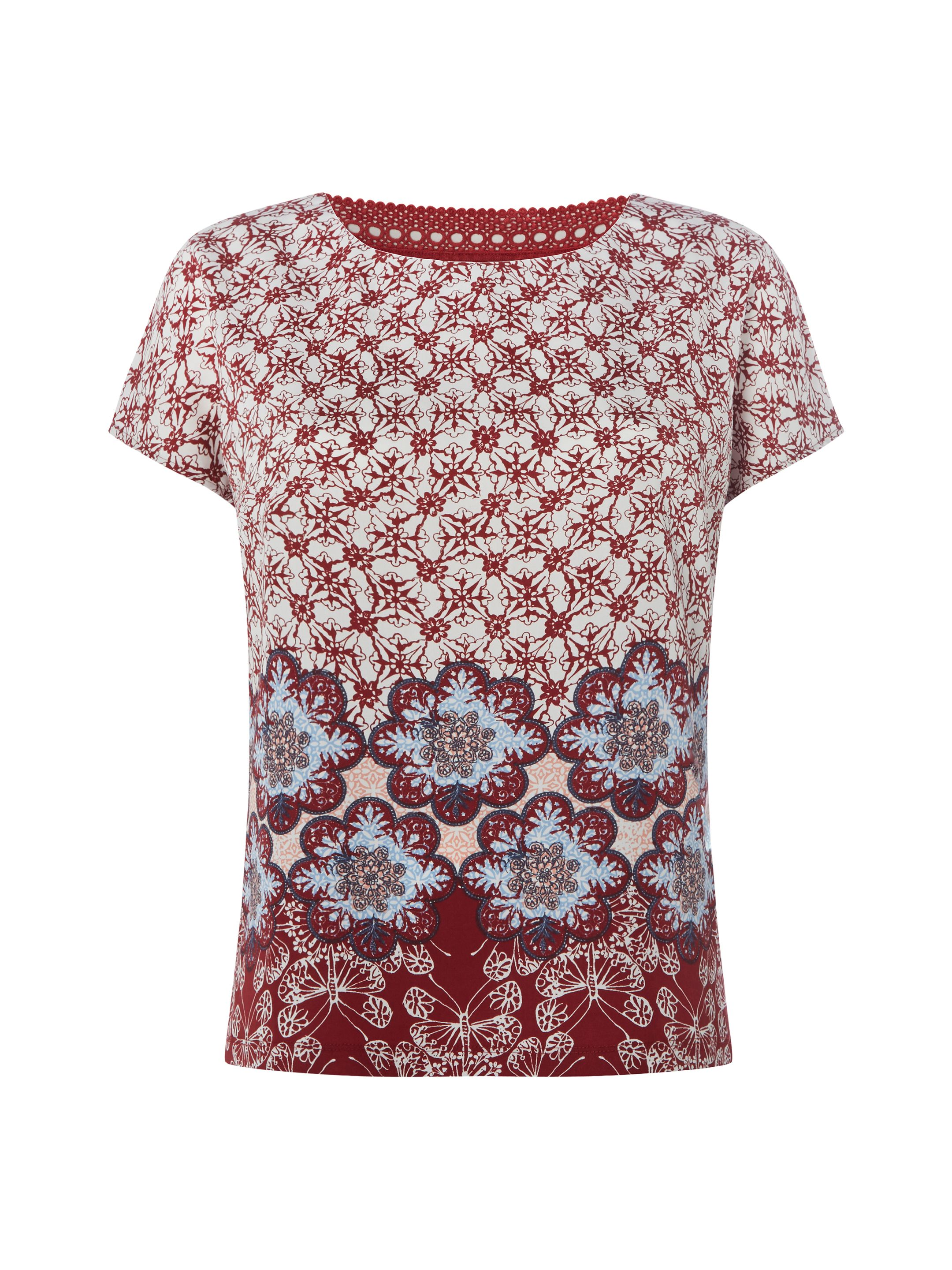 White Stuff Hennie Floral Jersey Tee, Red