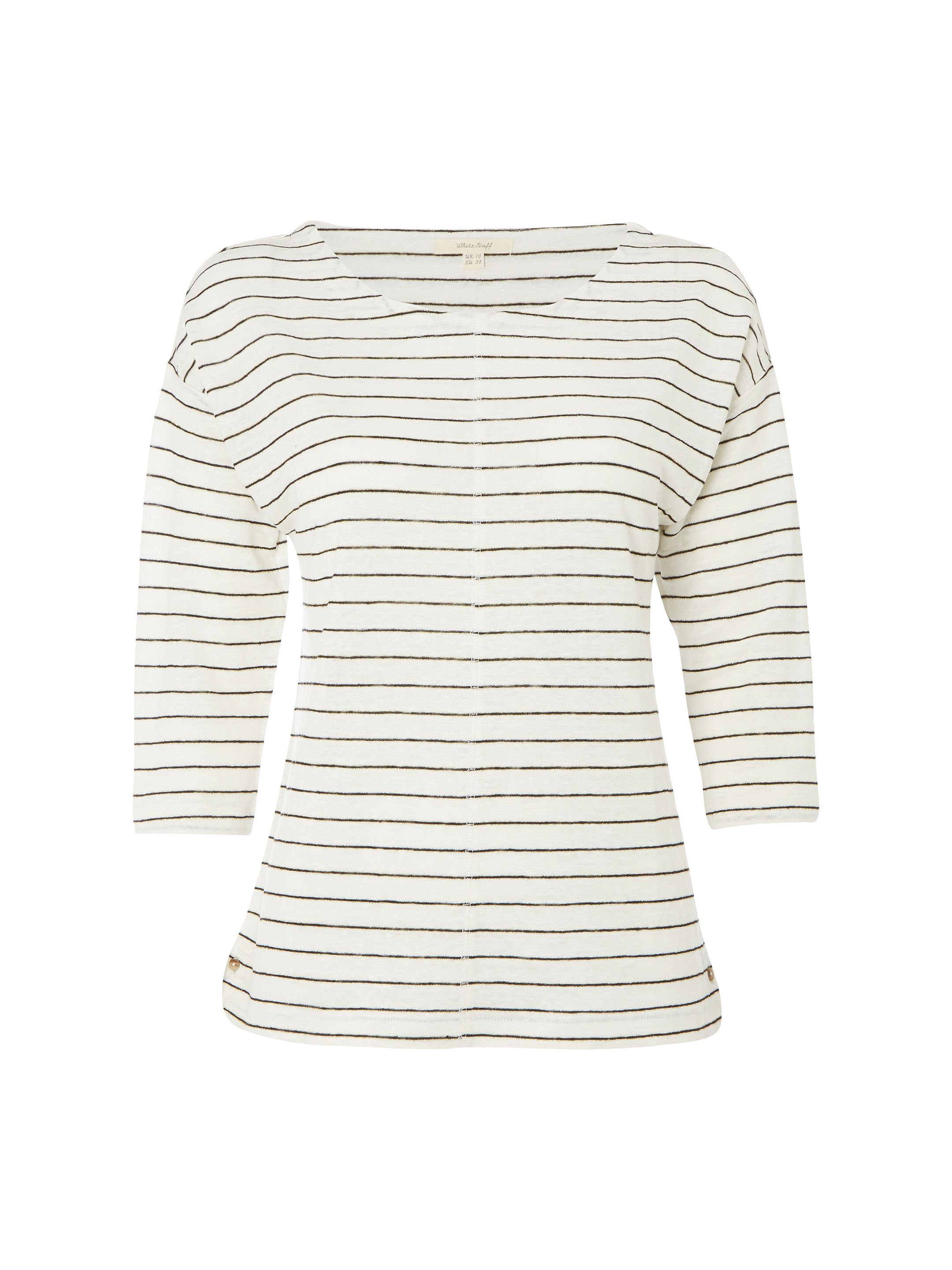 White Stuff Shimmer Stripe Jersey Tee, Grey