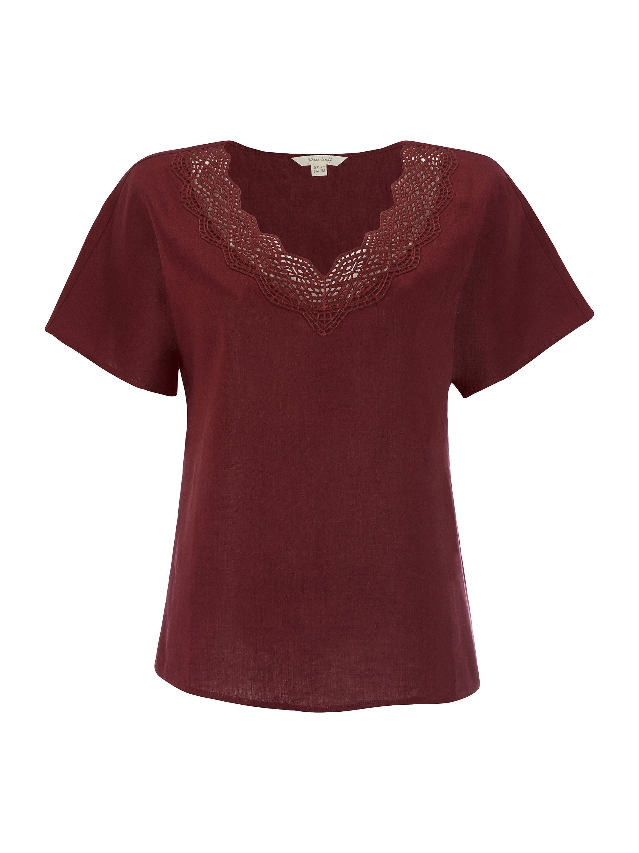 White Stuff Connie Linen Top, Red