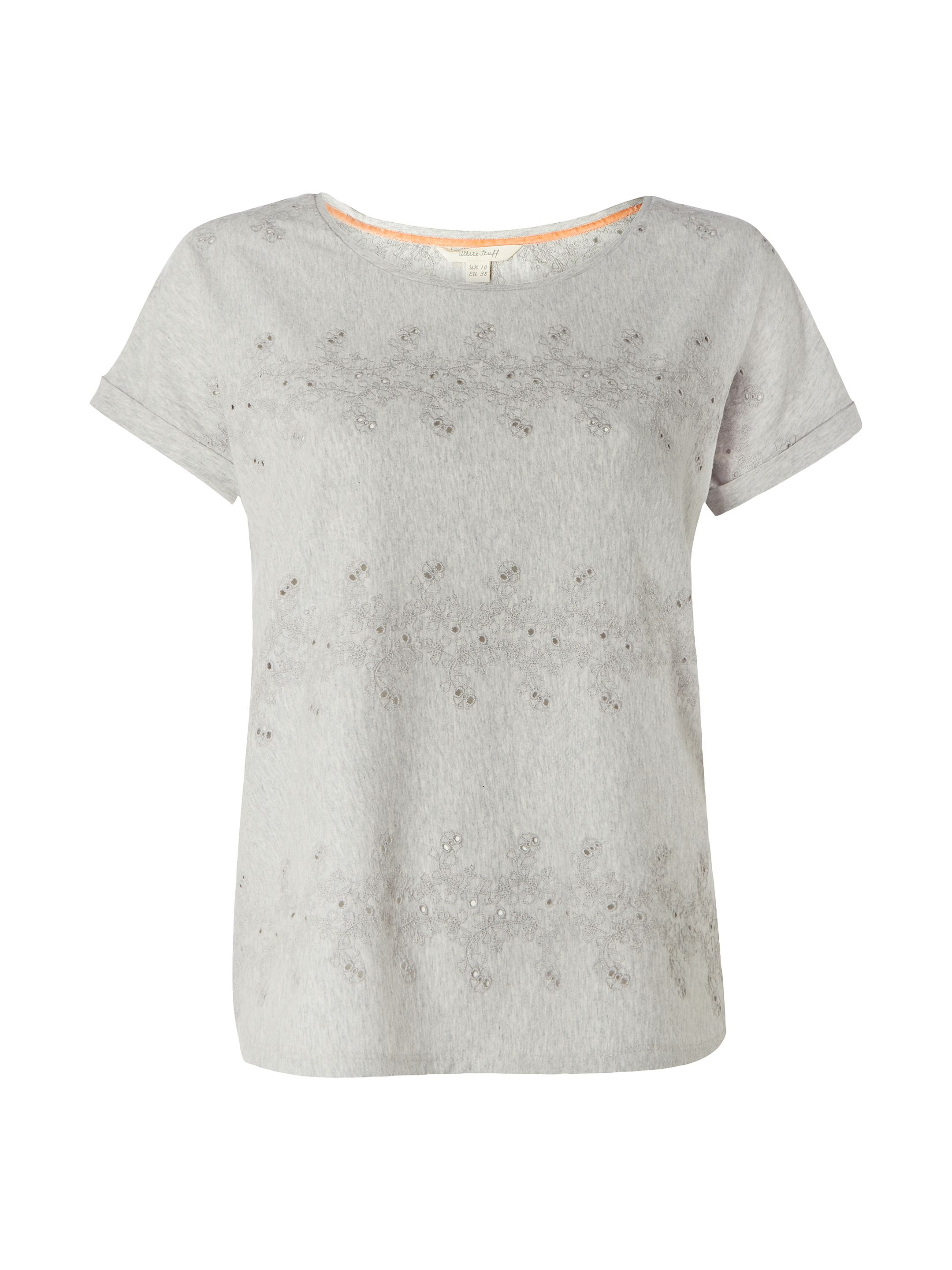 White Stuff Claire Emb Jersey Tee, Grey