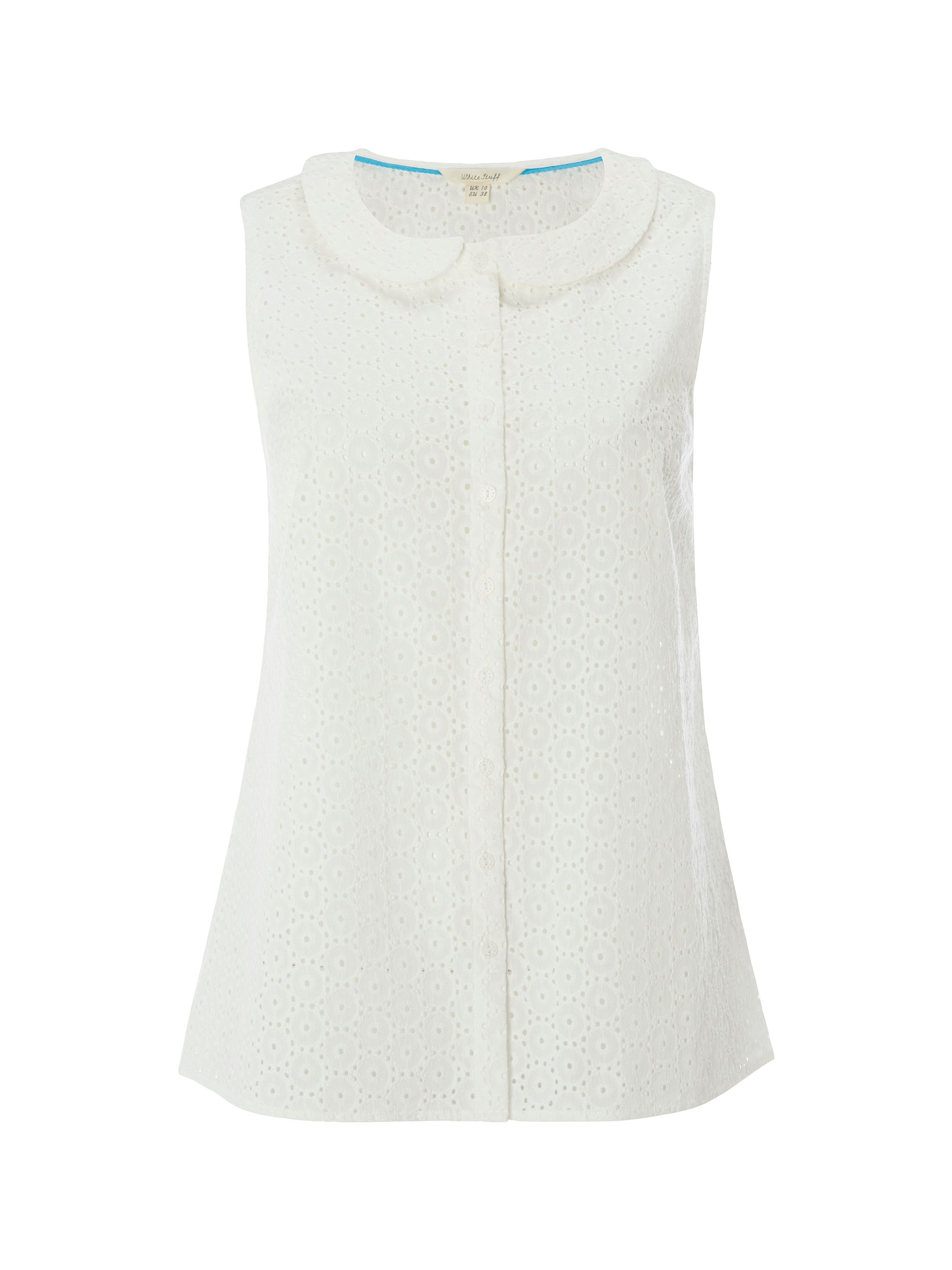 White Stuff Broderie Shirt Vest, White