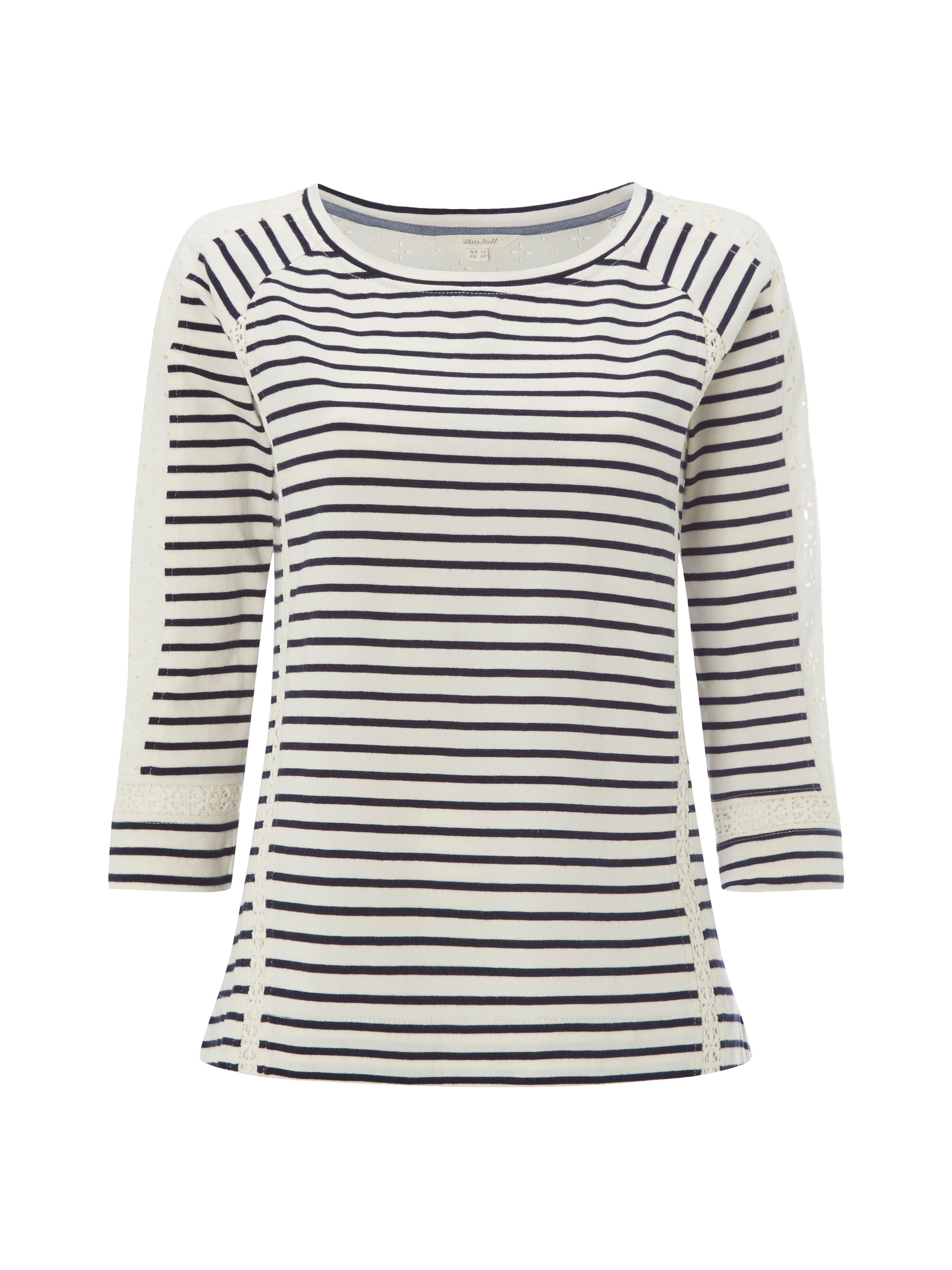 White Stuff Lace Stripe Jersey Tee, Blue