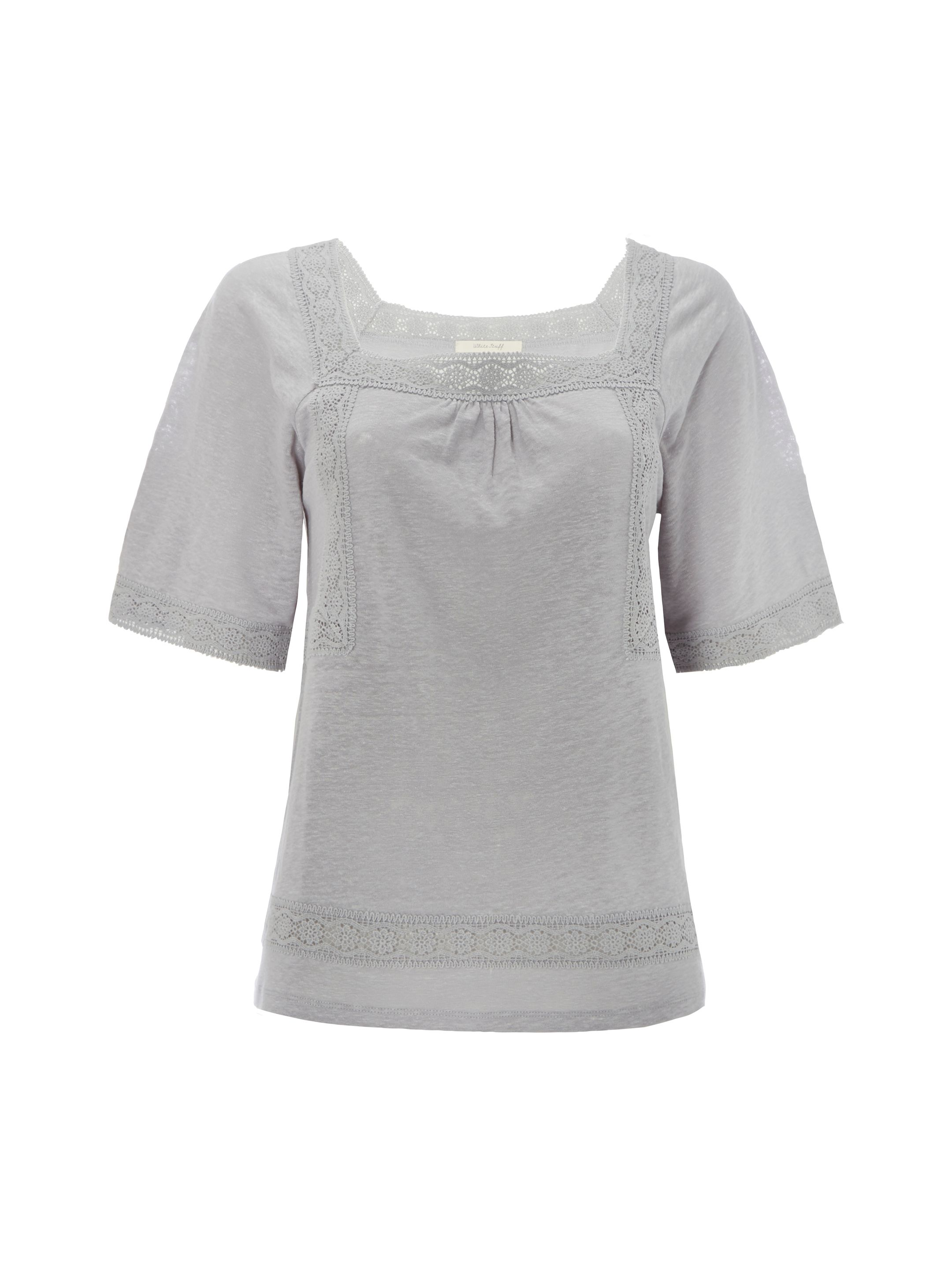 White Stuff Heidi High Linen Jersey Tee, Grey