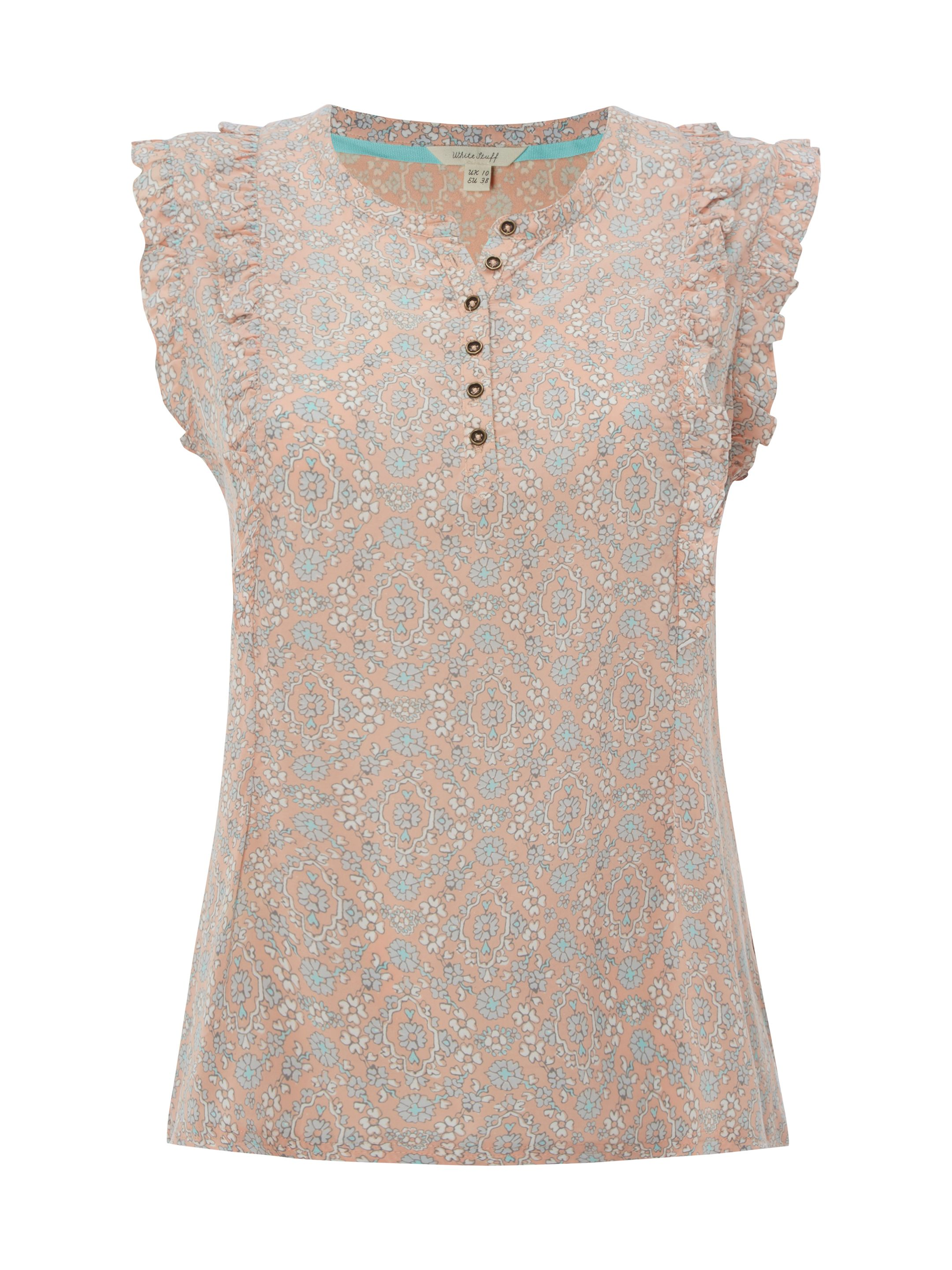 White Stuff Frilly Sleeveless Jersey Shirt, Apricot