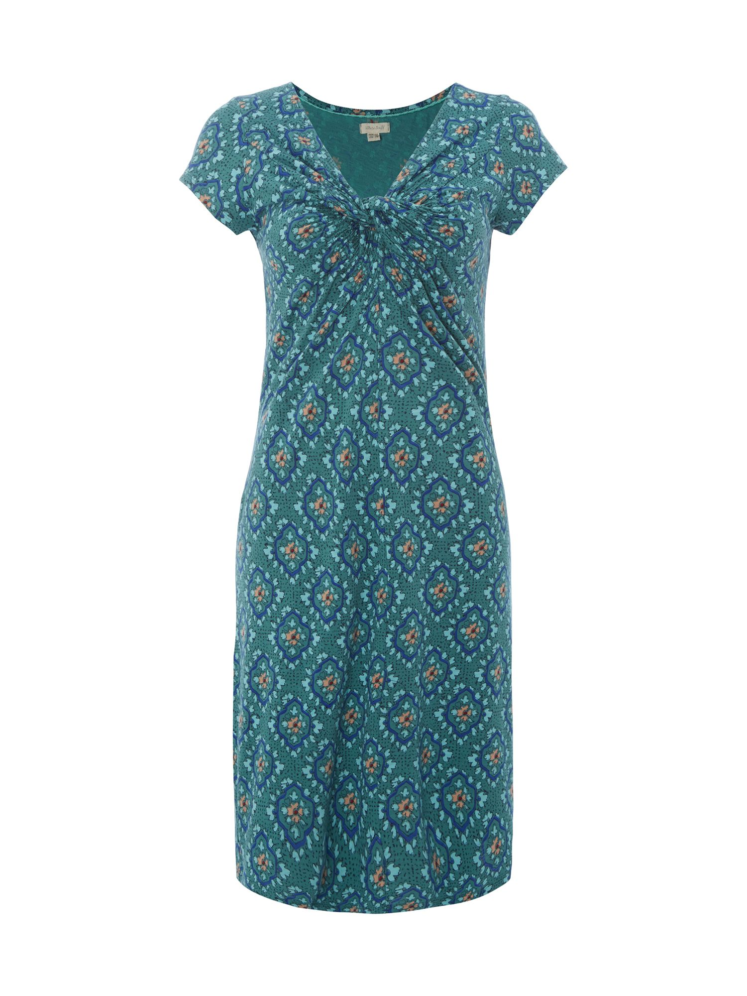 White Stuff Teardrop Tile Print Dress, Green