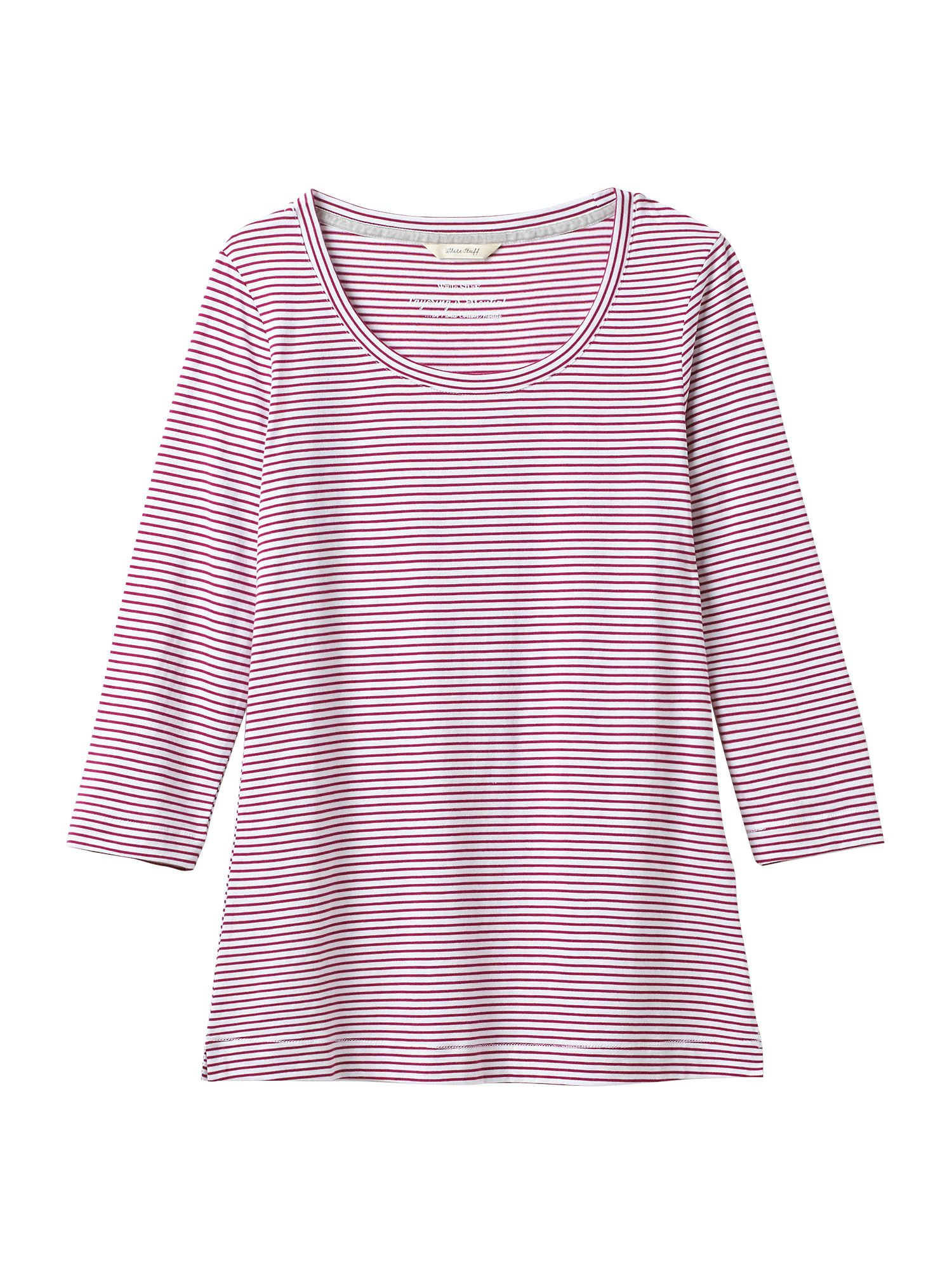 White Stuff 34 Brushed Layer Jersey Tee, Berry