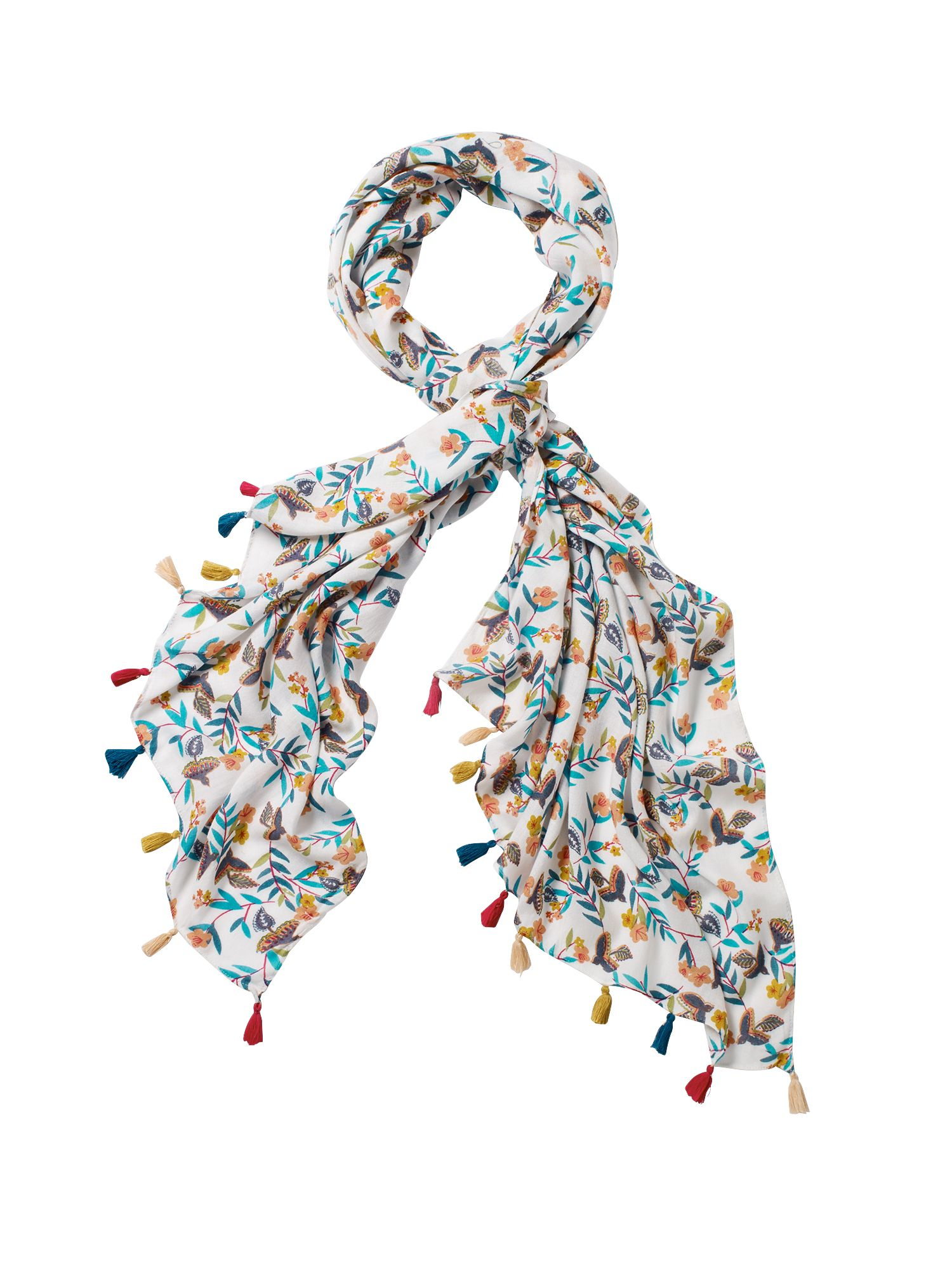 White Stuff Birds In The Branches Scarf, White