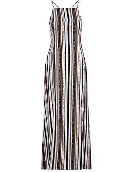 Square Neck Striped Maxi