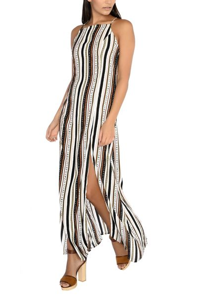 Glamorous Square Neck Striped Maxi