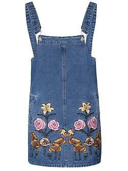 Embroidered Denim Pinafore