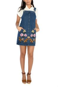 Glamorous Embroidered Denim Pinafore