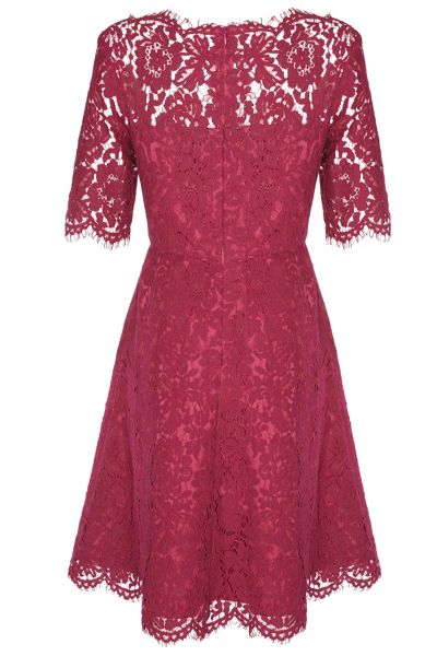 True Decadence Lace Scallop Skater Dress