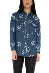 Glamorous Petite Peace Sign Denim Shirt