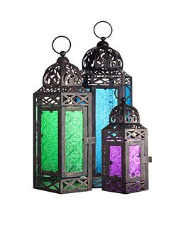 Moroccan style lantern set of 3 - coloured