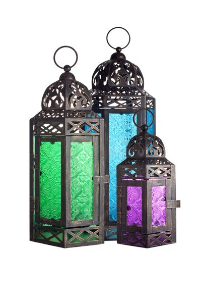 La Hacienda Moroccan style lantern set of 3 - coloured glass