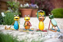 Hand painted yoga frogs set