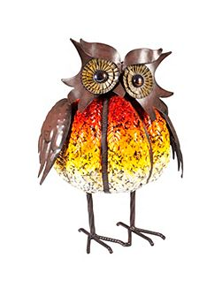 Pumpkin owl porcelain enamel coated ornament