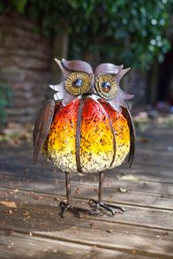 La Hacienda Pumpkin owl porcelain enamel coated ornament