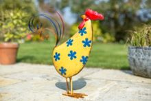 La Hacienda Flower design metal rooster ornament