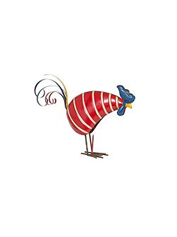 Stripy metal rooster ornament